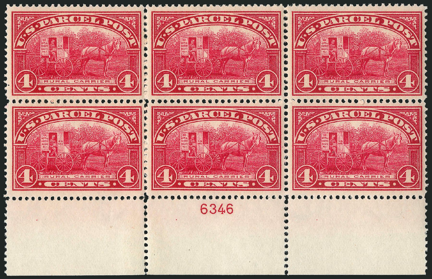 Values of US Stamp Scott Q4 - 4c 1913 Parcel Post. Robert Siegel Auction Galleries, Apr 2015, Sale 1096, Lot 947