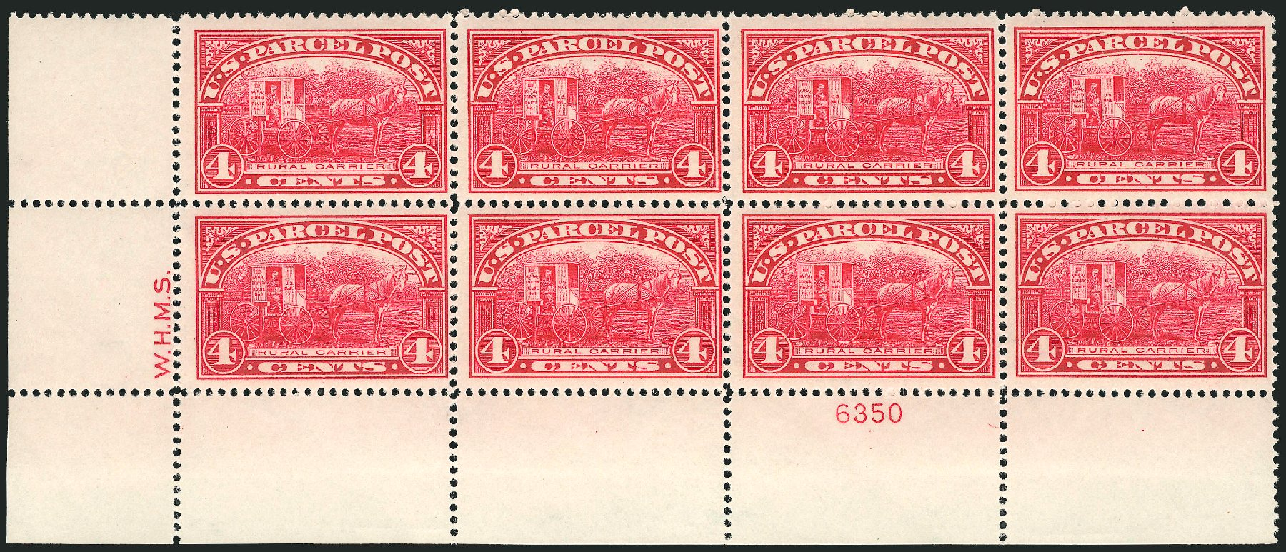 Costs of US Stamp Scott #Q4 - 1913 4c Parcel Post. Robert Siegel Auction Galleries, Mar 2015, Sale 1094, Lot 278