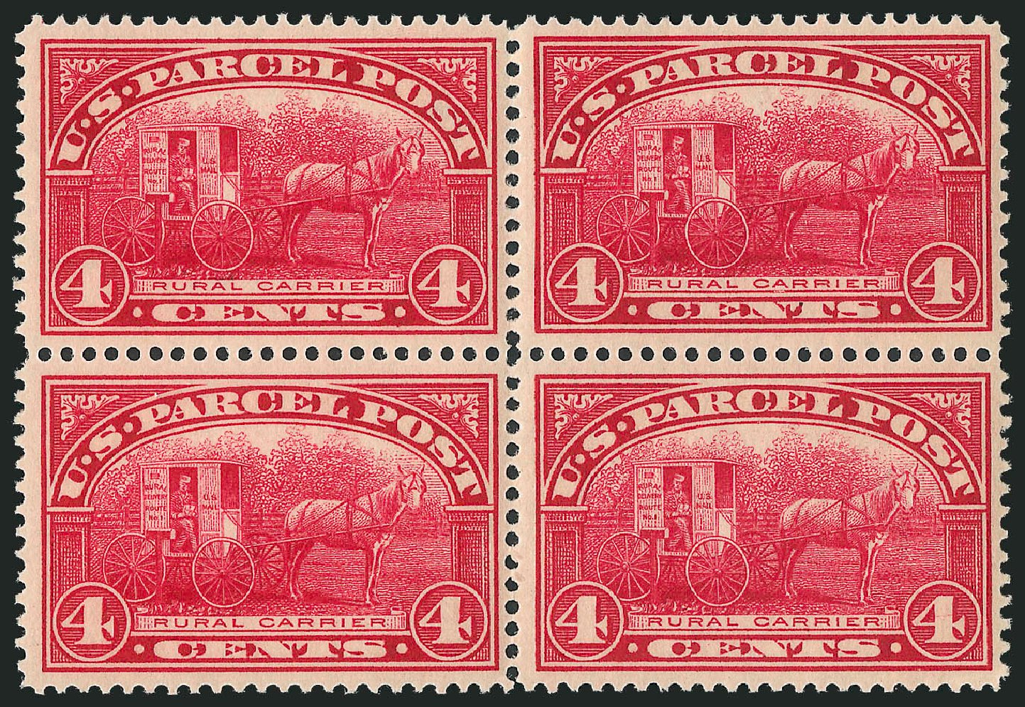 Cost of US Stamp Scott #Q4: 1913 4c Parcel Post. Robert Siegel Auction Galleries, Jun 2012, Sale 1026, Lot 1559