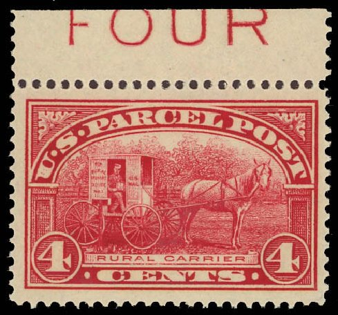 Costs of US Stamps Scott Catalog # Q4 - 4c 1913 Parcel Post. Daniel Kelleher Auctions, Aug 2012, Sale 631, Lot 1790