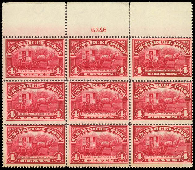 US Stamps Values Scott # Q4: 1913 4c Parcel Post. Daniel Kelleher Auctions, Oct 2012, Sale 632, Lot 1590