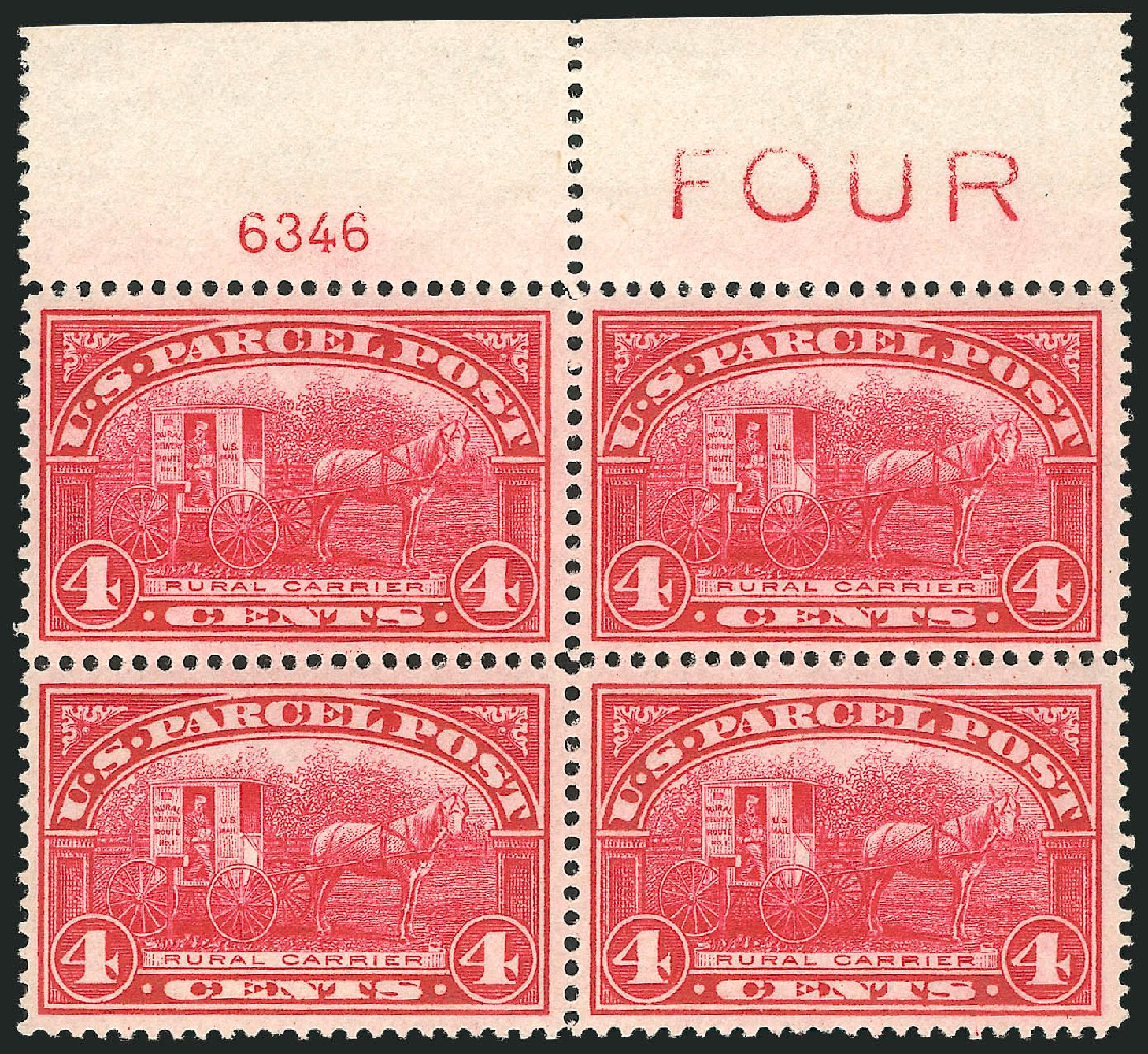 US Stamps Values Scott Catalog Q4 - 4c 1913 Parcel Post. Robert Siegel Auction Galleries, Oct 2011, Sale 1014, Lot 2421