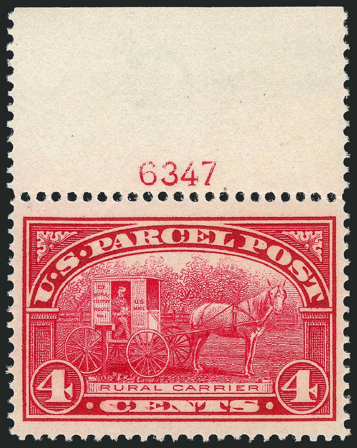 Price of US Stamps Scott Cat. Q4: 1913 4c Parcel Post. Robert Siegel Auction Galleries, Nov 2013, Sale 1061, Lot 4222