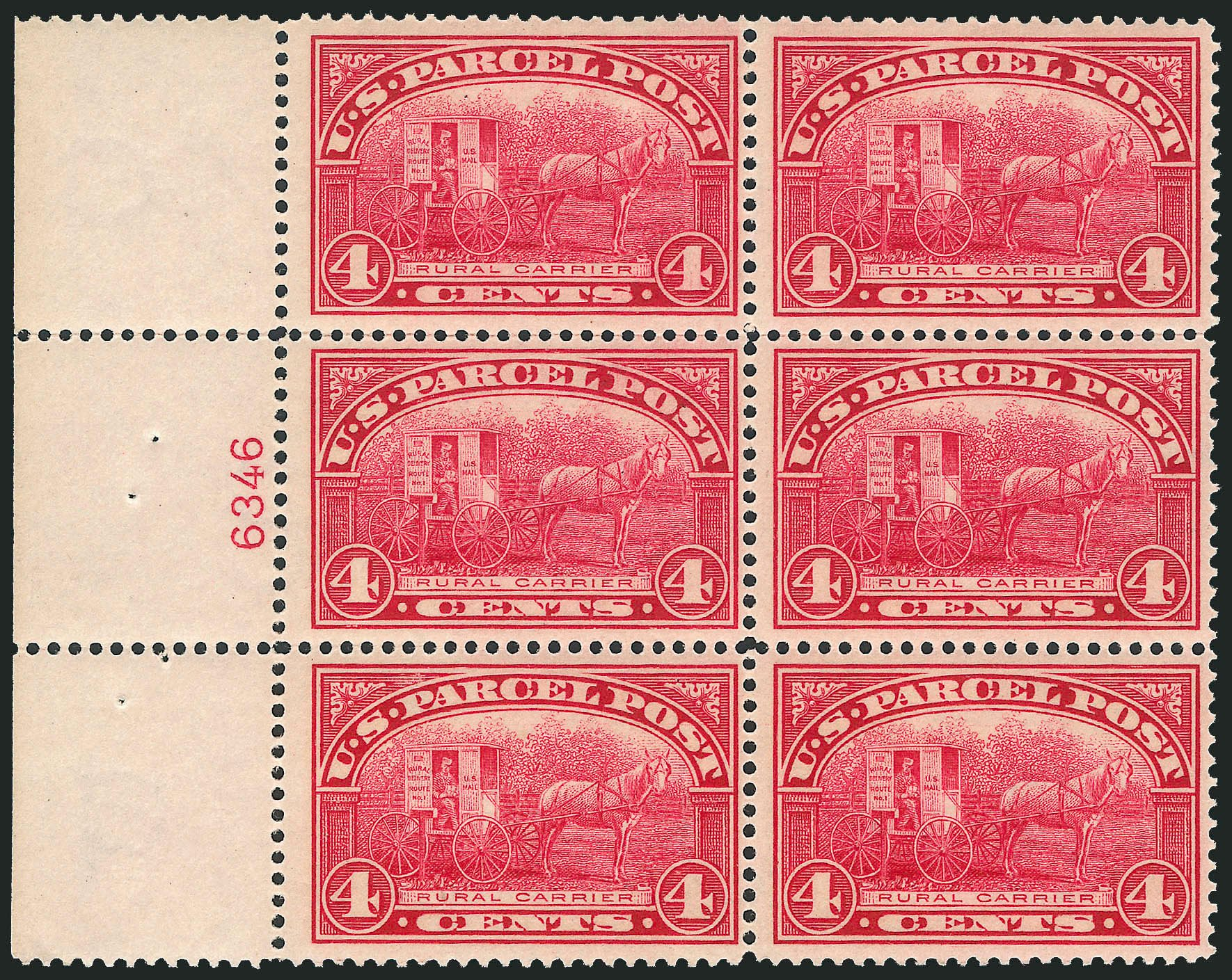 Cost of US Stamps Scott Catalog #Q4: 4c 1913 Parcel Post. Robert Siegel Auction Galleries, Nov 2013, Sale 1061, Lot 4223