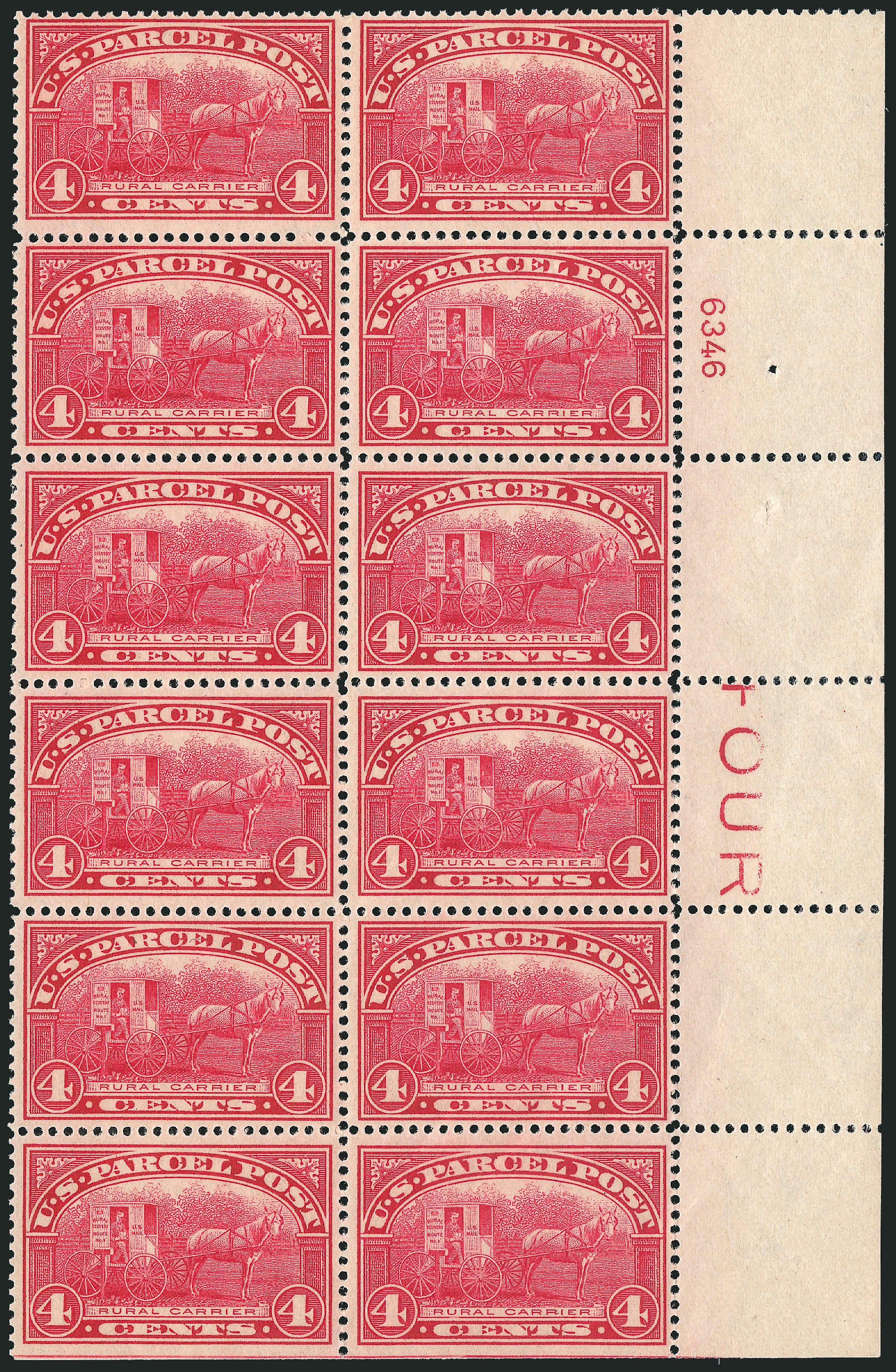 Cost of US Stamp Scott Q4 - 4c 1913 Parcel Post. Robert Siegel Auction Galleries, Jul 2014, Sale 1077, Lot 473