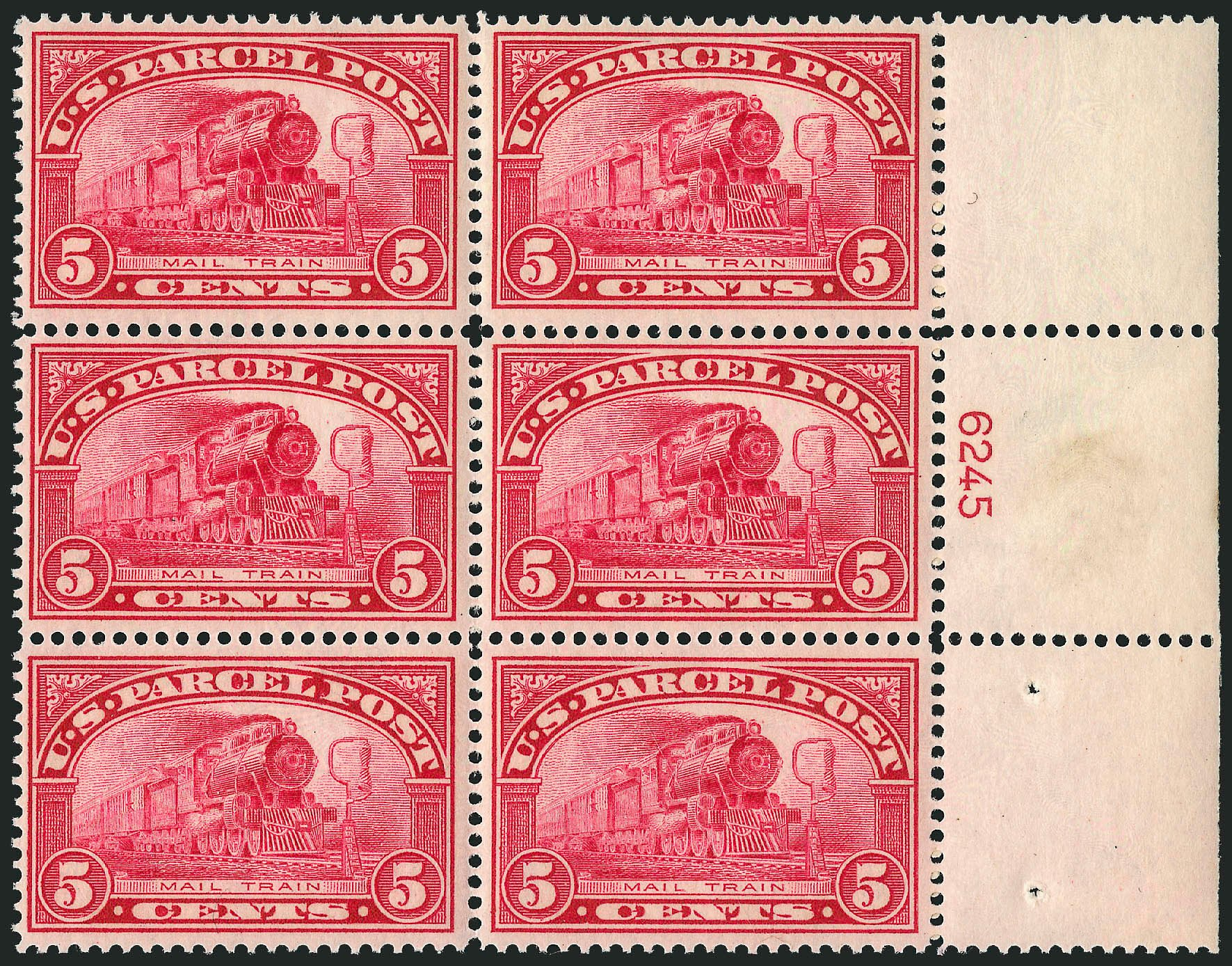 Values of US Stamp Scott Catalog Q5 - 1913 5c Parcel Post. Robert Siegel Auction Galleries, Apr 2015, Sale 1096, Lot 948