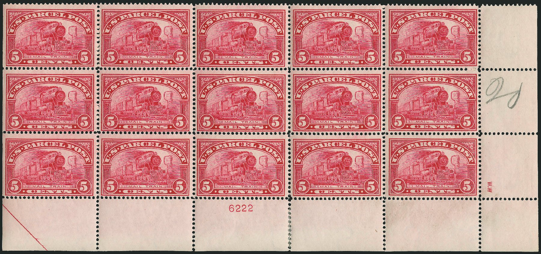 US Stamps Value Scott Cat. # Q5: 5c 1913 Parcel Post. Robert Siegel Auction Galleries, Mar 2015, Sale 1094, Lot 281