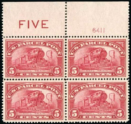 US Stamps Values Scott Catalog #Q5: 5c 1913 Parcel Post. Spink Shreves Galleries, Jul 2015, Sale 151, Lot 411