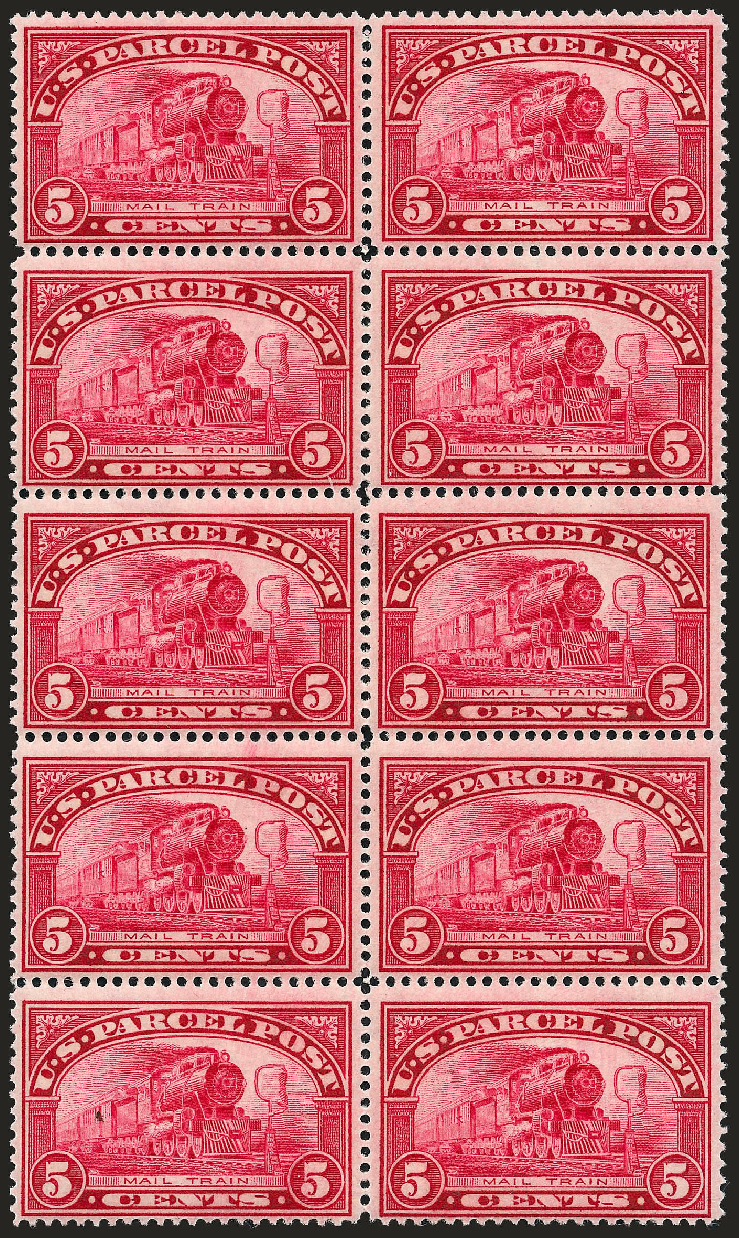 Values of US Stamps Scott Cat. # Q5 - 1913 5c Parcel Post. Robert Siegel Auction Galleries, Sep 2008, Sale 962, Lot 3044