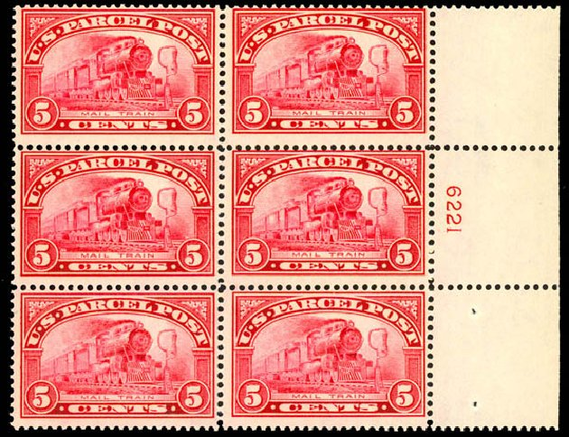 US Stamps Values Scott Catalog #Q5 - 1913 5c Parcel Post. Daniel Kelleher Auctions, Aug 2015, Sale 672, Lot 3023