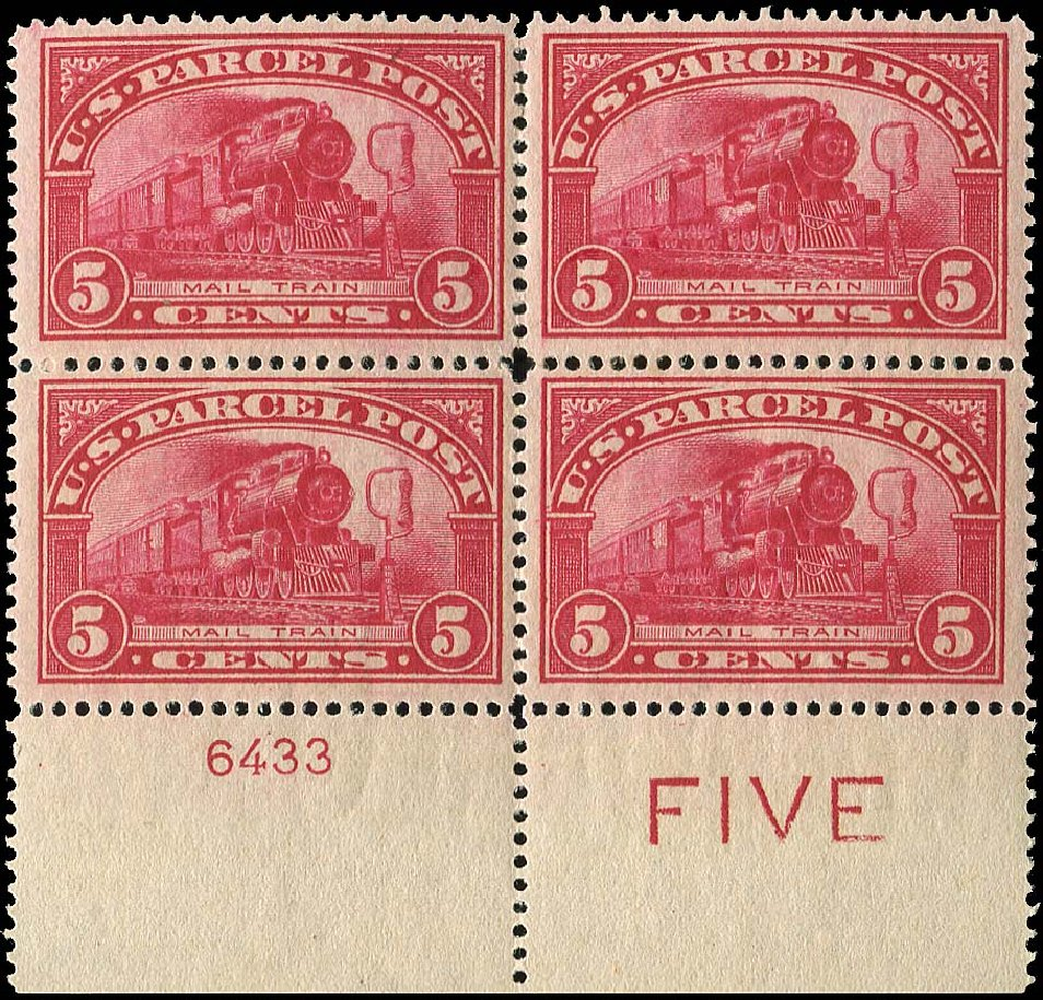 Values of US Stamp Scott Catalog Q5 - 5c 1913 Parcel Post. Regency-Superior, Nov 2014, Sale 108, Lot 1456