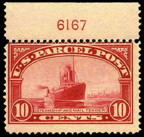 Value of US Stamp Scott Catalogue # Q6 - 1913 10c Parcel Post. Harmer-Schau Auction Galleries, Apr 2008, Sale 77, Lot 149