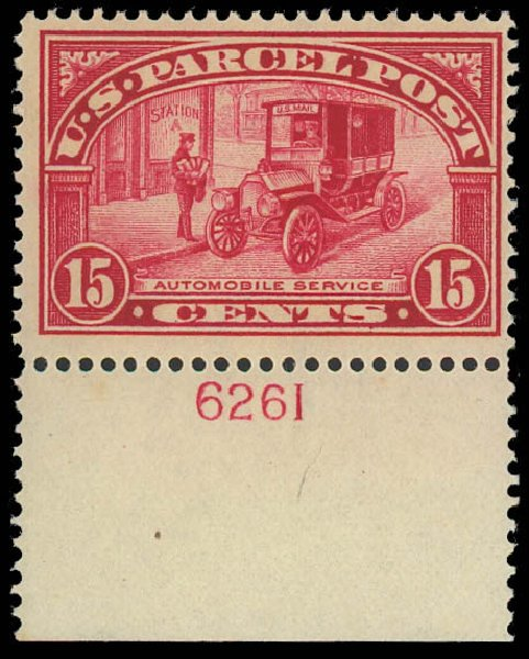 Costs of US Stamp Scott Catalogue Q7 - 1913 15c Parcel Post. Daniel Kelleher Auctions, Oct 2012, Sale 632, Lot 1594
