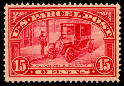 Values of US Stamp Scott Catalogue Q7 - 15c 1913 Parcel Post. Daniel Kelleher Auctions, Jan 2015, Sale 663, Lot 2185