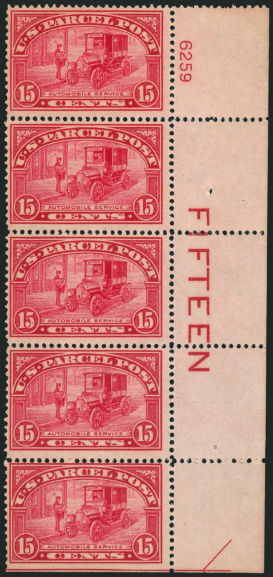 Value of US Stamp Scott Catalogue # Q7: 15c 1913 Parcel Post. Robert Siegel Auction Galleries, Jul 2014, Sale 1077, Lot 475