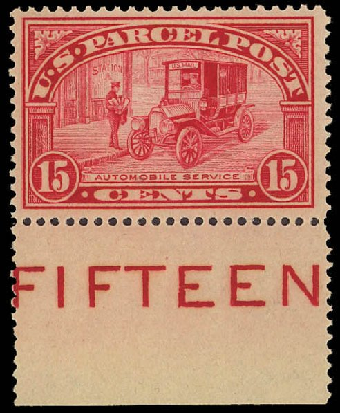 Prices of US Stamp Scott Catalog Q7: 15c 1913 Parcel Post. Daniel Kelleher Auctions, Aug 2012, Sale 631, Lot 1796