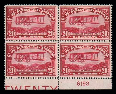 Costs of US Stamp Scott Q8: 1913 20c Parcel Post. Matthew Bennett International, Jun 2007, Sale 319, Lot 1757