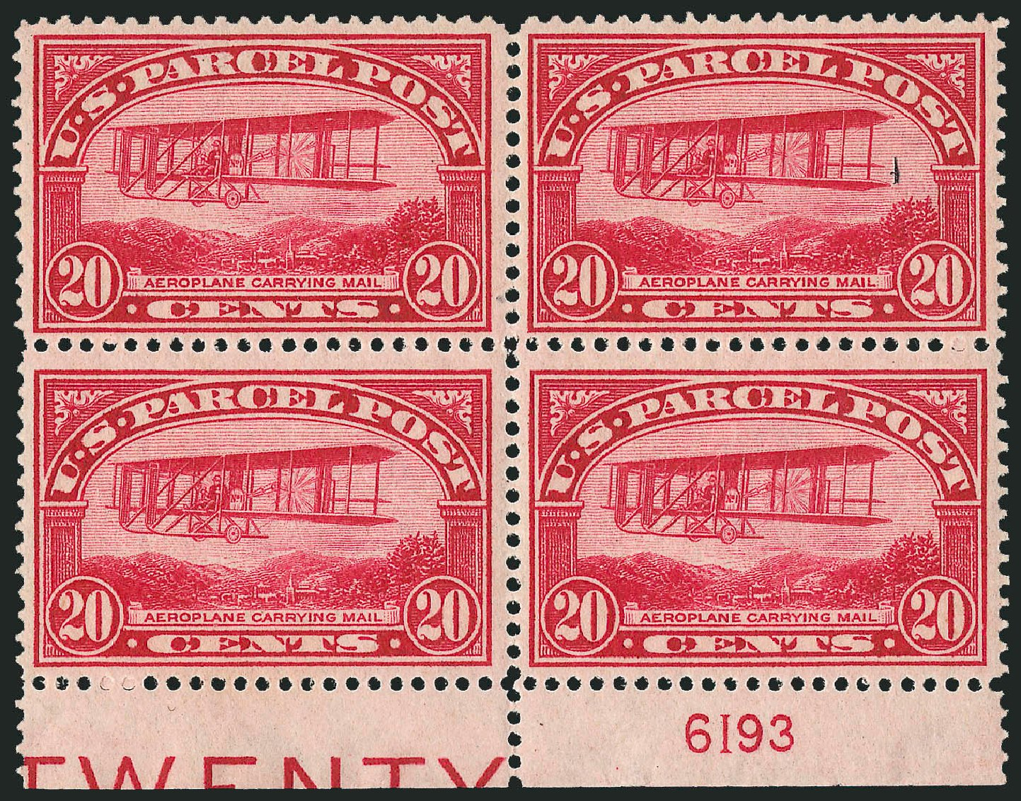 Costs of US Stamps Scott Catalogue # Q8 - 20c 1913 Parcel Post. Robert Siegel Auction Galleries, Jul 2014, Sale 1077, Lot 476