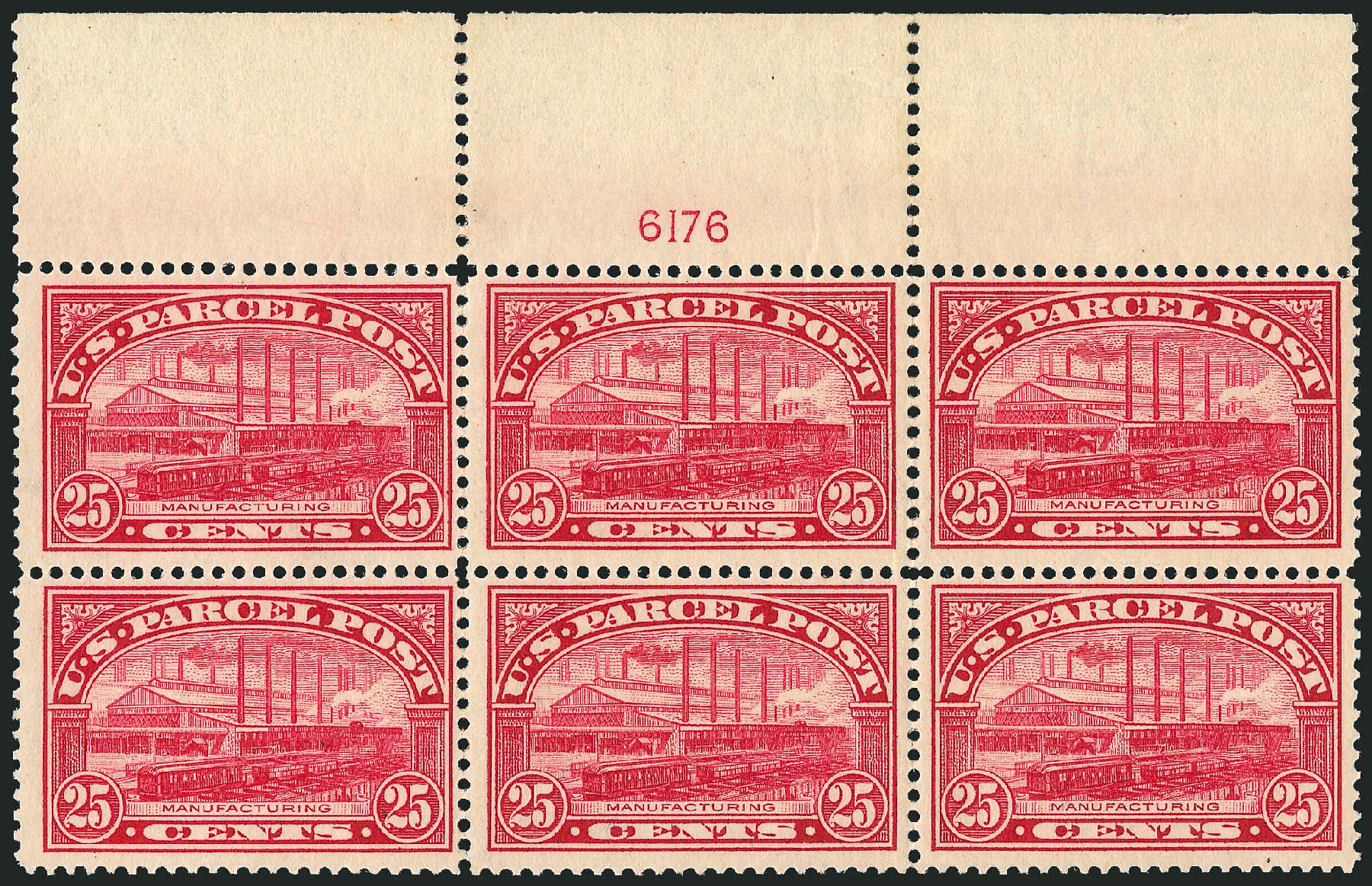 Values of US Stamps Scott Catalogue Q9 - 1913 25c Parcel Post. Robert Siegel Auction Galleries, Jul 2014, Sale 1077, Lot 477