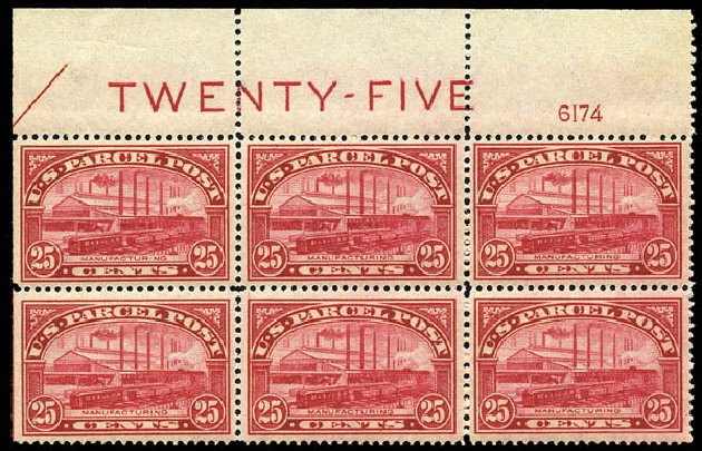 US Stamps Price Scott Q9: 1913 25c Parcel Post. Matthew Bennett International, May 2014, Sale 350, Lot 714