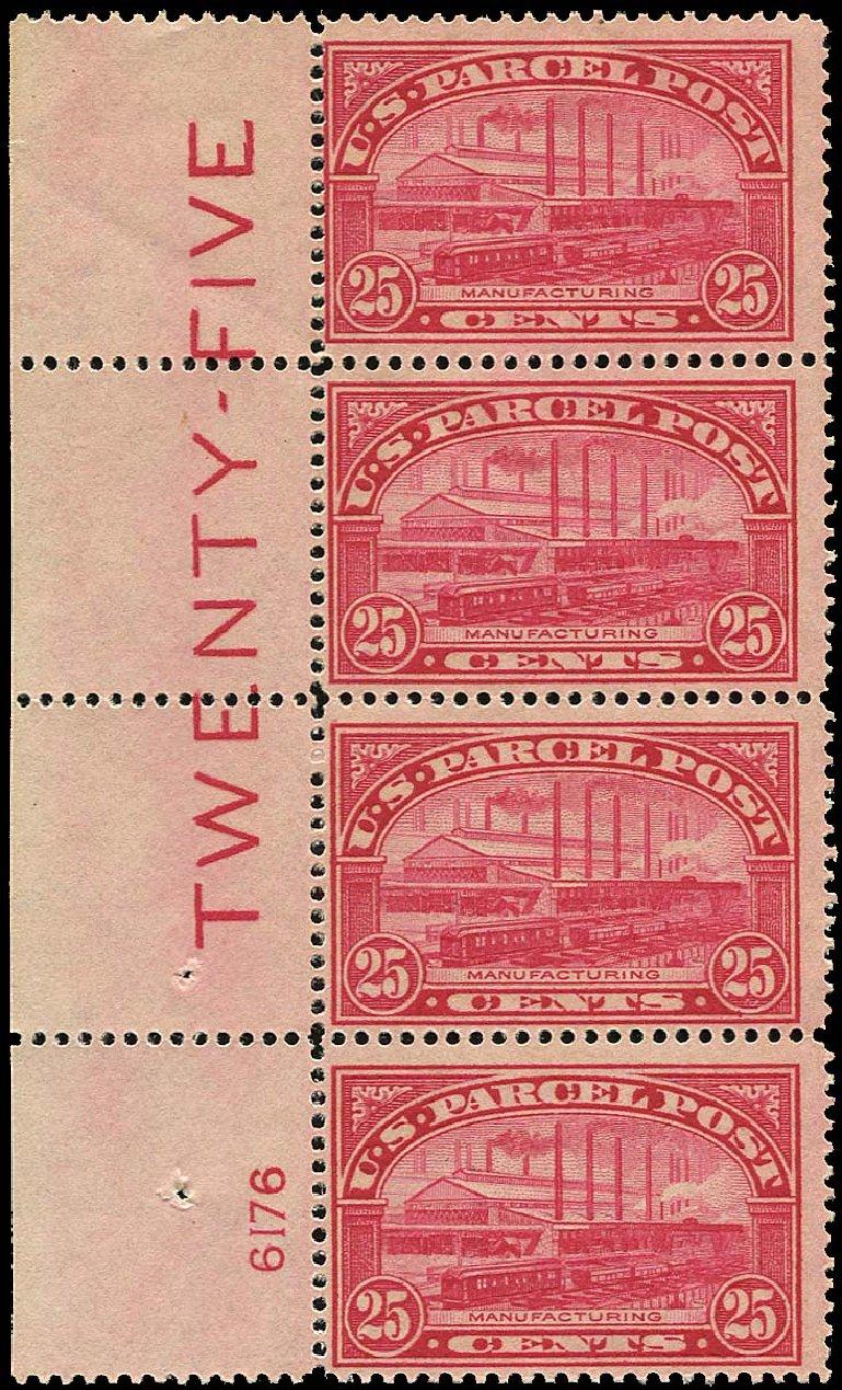 Value of US Stamp Scott #Q9 - 25c 1913 Parcel Post. Regency-Superior, Jan 2015, Sale 109, Lot 1595