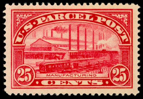 Values of US Stamp Scott Cat. Q9 - 25c 1913 Parcel Post. Daniel Kelleher Auctions, May 2014, Sale 653, Lot 2332