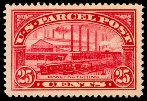 Values of US Stamp Scott Cat. Q9 - 25c 1913 Parcel Post. Daniel Kelleher Auctions, May 2014, Sale 653, Lot 2332