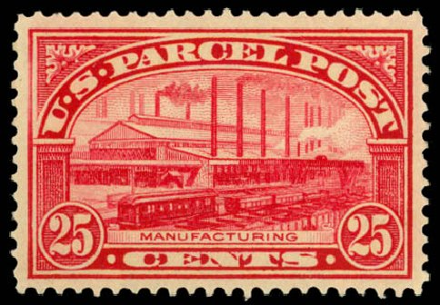 Cost of US Stamps Scott Catalogue # Q9: 25c 1913 Parcel Post. Daniel Kelleher Auctions, Dec 2014, Sale 661, Lot 473