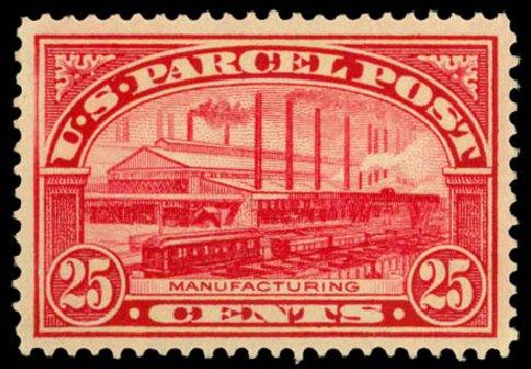 Cost of US Stamps Scott Catalogue # Q9: 25c 1913 Parcel Post. Daniel Kelleher Auctions, Dec 2014, Sale 661, Lot 473