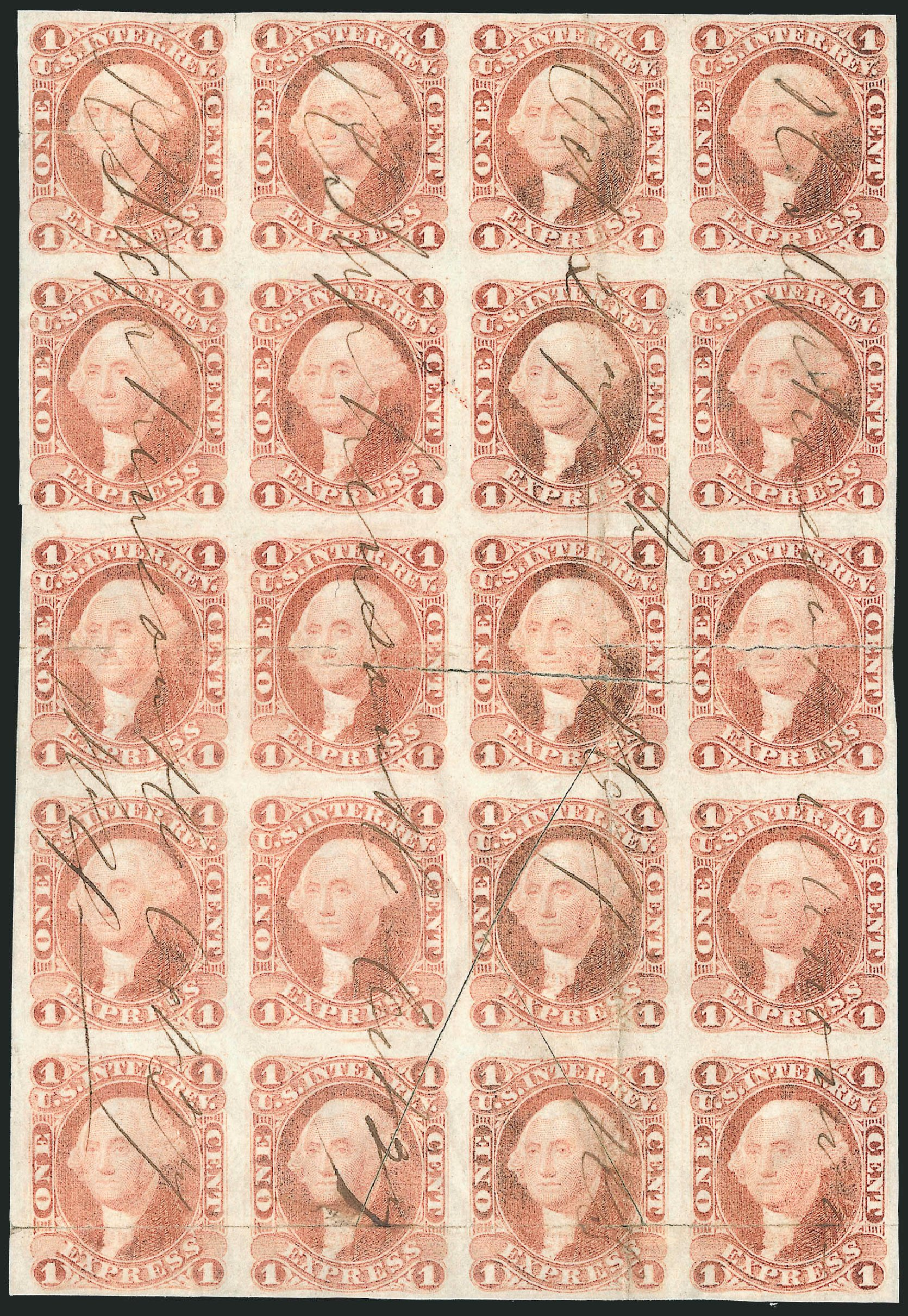 Costs of US Stamp Scott # R1 - 1862 1c Revenue Express. Robert Siegel Auction Galleries, Jun 2015, Sale 1100, Lot 137
