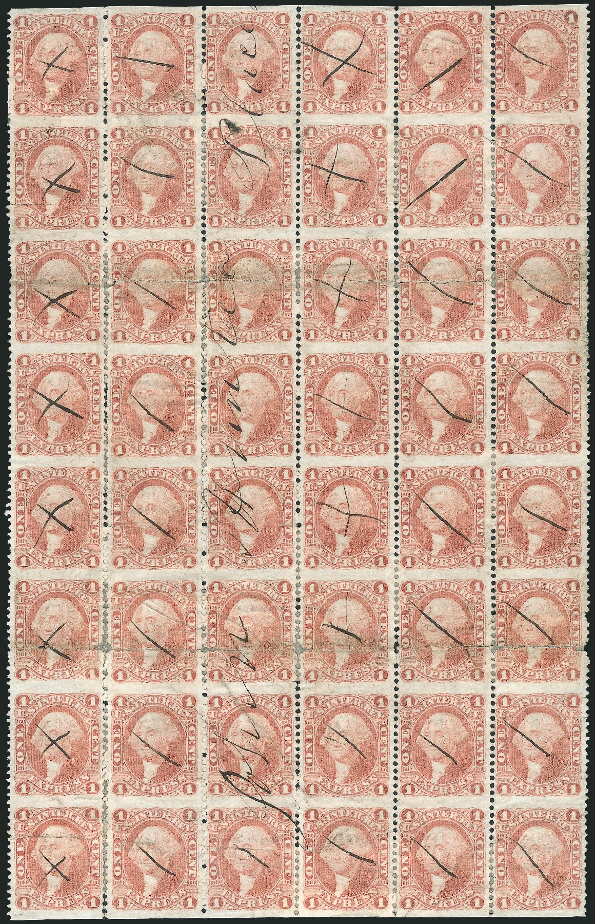 Costs of US Stamps Scott R1 - 1862 1c Revenue Express. Robert Siegel Auction Galleries, Dec 2014, Sale 1089, Lot 386