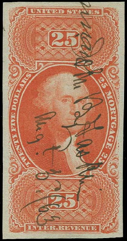 Values of US Stamp Scott Cat. # R100 - US$25.00 1863 Revenue Mortgage. H.R. Harmer, Jun 2015, Sale 3007, Lot 3547