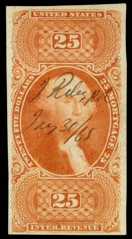 US Stamp Price Scott Catalog # R100: US$25.00 1863 Revenue Mortgage. Daniel Kelleher Auctions, Oct 2014, Sale 660, Lot 2577