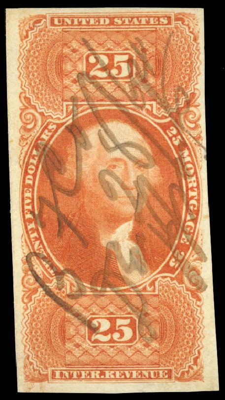 Price of US Stamps Scott R100 - 1863 US$25.00 Revenue Mortgage. Daniel Kelleher Auctions, Aug 2015, Sale 672, Lot 3077