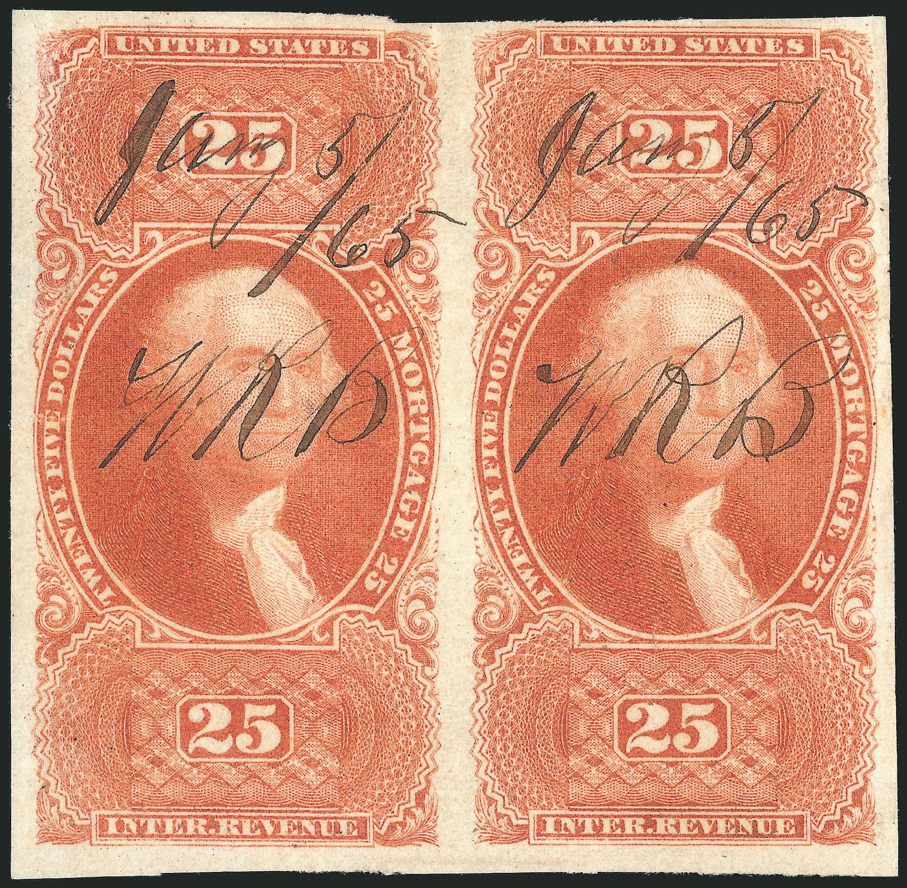 Prices of US Stamps Scott Catalogue R100: US$25.00 1863 Revenue Mortgage. Robert Siegel Auction Galleries, Dec 2014, Sale 1089, Lot 277
