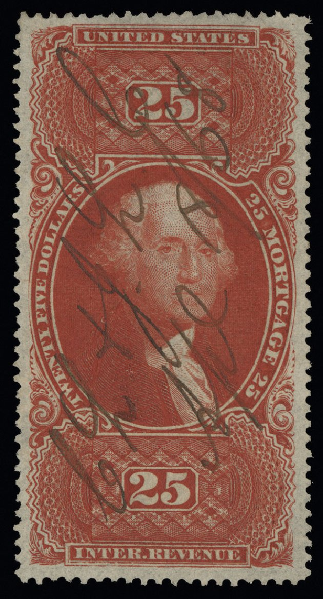 Value of US Stamps Scott Catalog # R100 - US$25.00 1863 Revenue Mortgage. Spink Shreves Galleries, Aug 2013, Sale 144, Lot 437