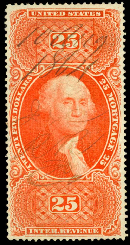 US Stamps Value Scott Catalog R100 - US$25.00 1863 Revenue Mortgage. Daniel Kelleher Auctions, Aug 2015, Sale 672, Lot 3078