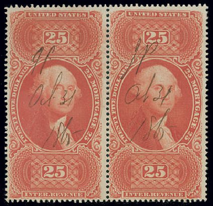 US Stamp Price Scott R100 - US$25.00 1863 Revenue Mortgage. Matthew Bennett International, Jun 2008, Sale 328, Lot 1389