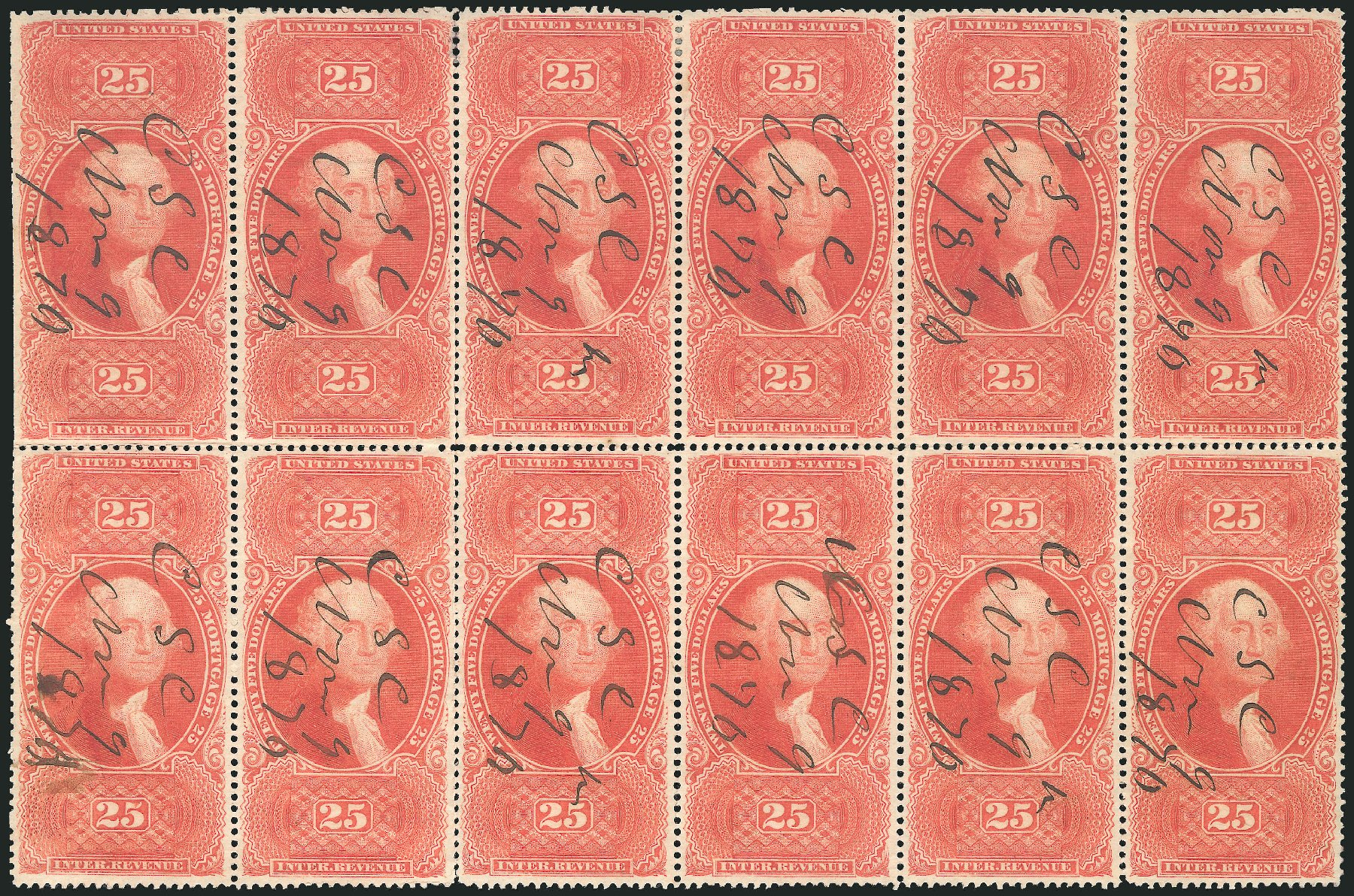 US Stamp Values Scott Catalog # R100: 1863 US$25.00 Revenue Mortgage. Robert Siegel Auction Galleries, Dec 2014, Sale 1089, Lot 449