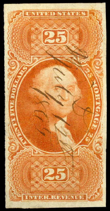 Cost of US Stamps Scott # R100 - 1863 US$25.00 Revenue Mortgage. Daniel Kelleher Auctions, Jun 2015, Sale 670, Lot 30