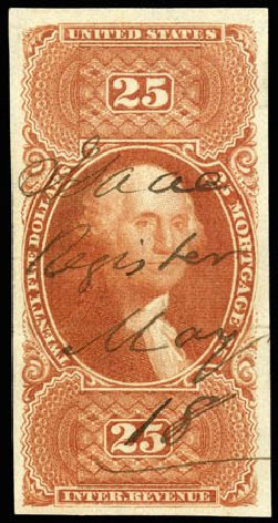 Cost of US Stamp Scott Catalogue R100: US$25.00 1863 Revenue Mortgage. Matthew Bennett International, Apr 2008, Sale 326, Lot 821