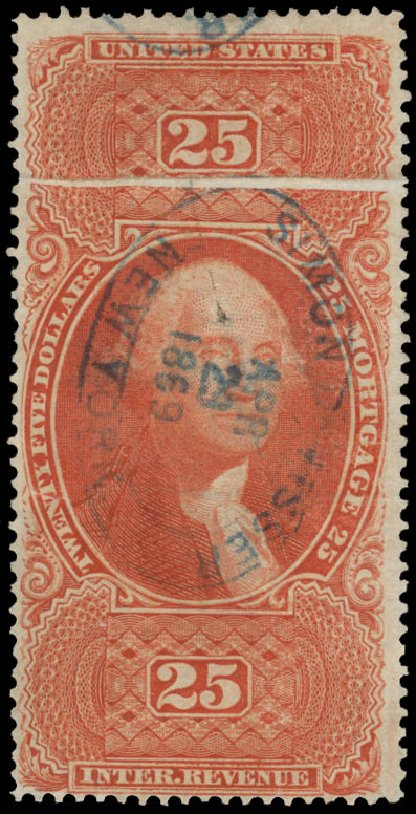 US Stamps Value Scott Catalogue R100: 1863 US$25.00 Revenue Mortgage. Daniel Kelleher Auctions, May 2015, Sale 665, Lot 151
