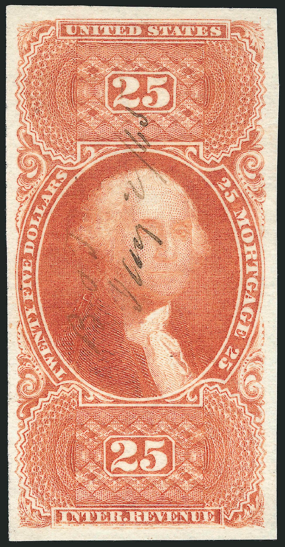 Costs of US Stamps Scott Catalogue #R100 - US$25.00 1863 Revenue Mortgage. Robert Siegel Auction Galleries, Mar 2014, Sale 1066, Lot 41