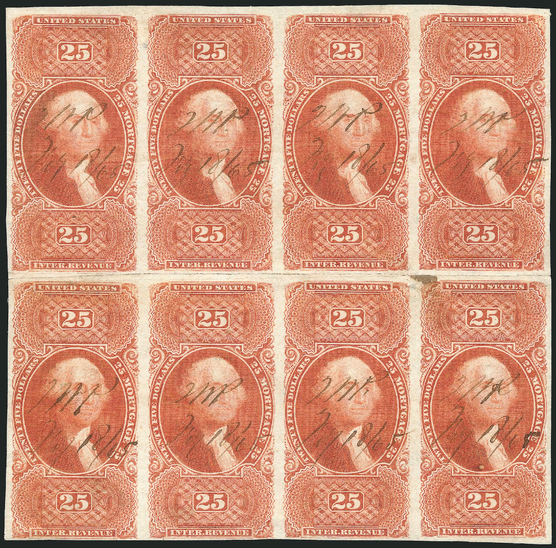 US Stamps Value Scott Catalog #R100: US$25.00 1863 Revenue Mortgage. Robert Siegel Auction Galleries, Dec 2014, Sale 1089, Lot 381