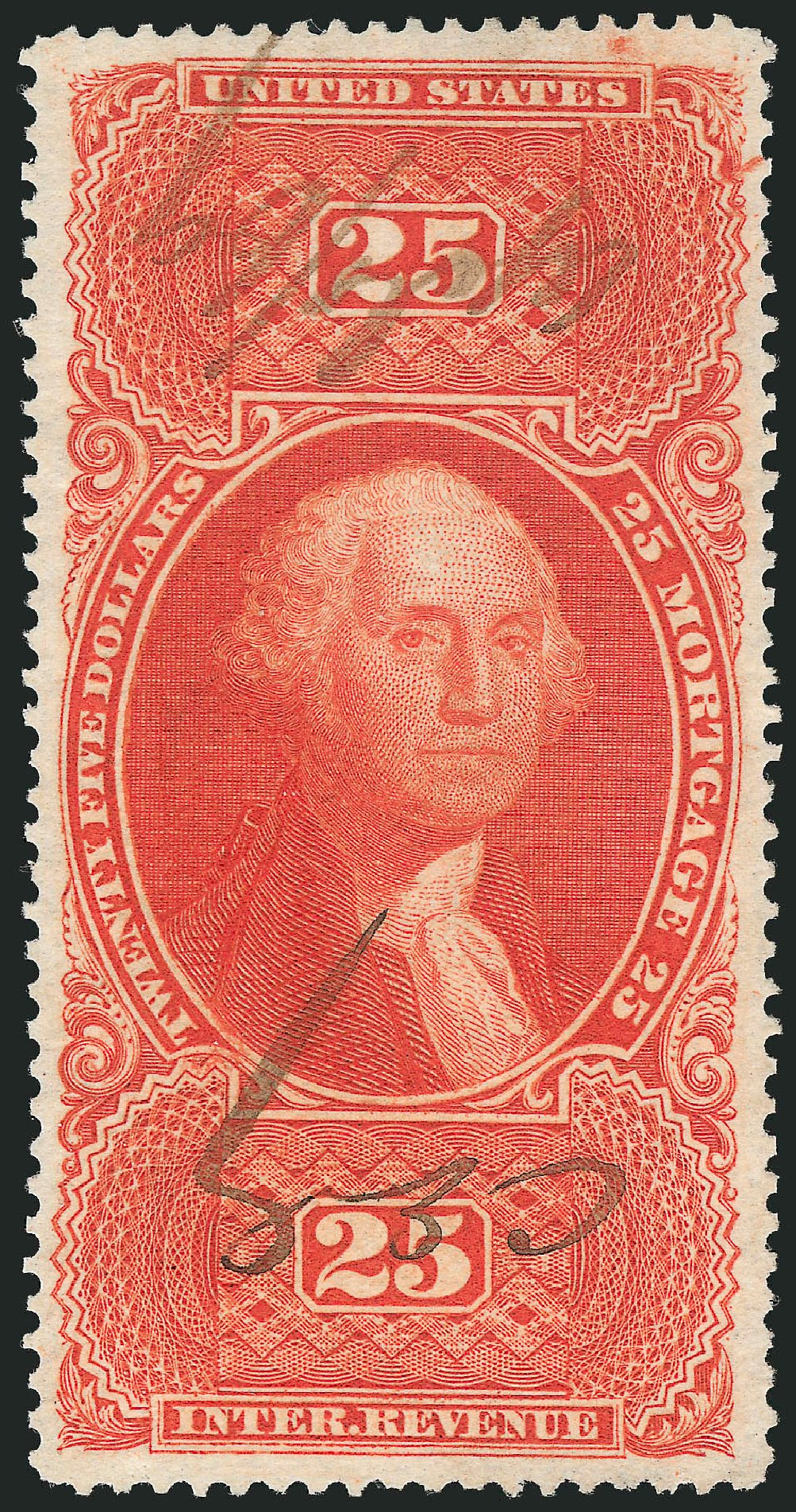 Values of US Stamp Scott R100: US$25.00 1863 Revenue Mortgage. Robert Siegel Auction Galleries, Mar 2014, Sale 1066, Lot 74