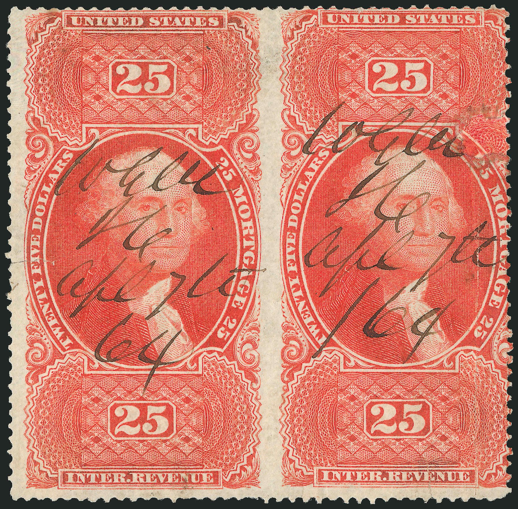 US Stamp Value Scott Catalog # R100: 1863 US$25.00 Revenue Mortgage. Robert Siegel Auction Galleries, Dec 2014, Sale 1089, Lot 314
