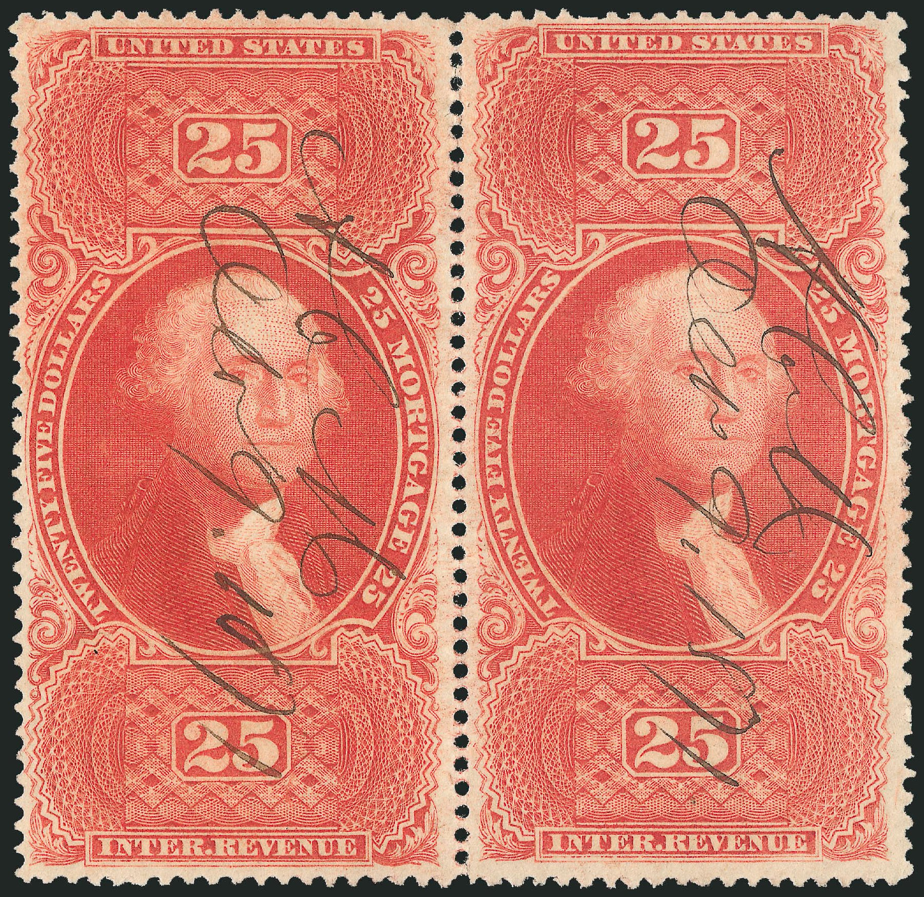 Prices of US Stamp Scott Catalog R100 - 1863 US$25.00 Revenue Mortgage. Robert Siegel Auction Galleries, Dec 2014, Sale 1089, Lot 464