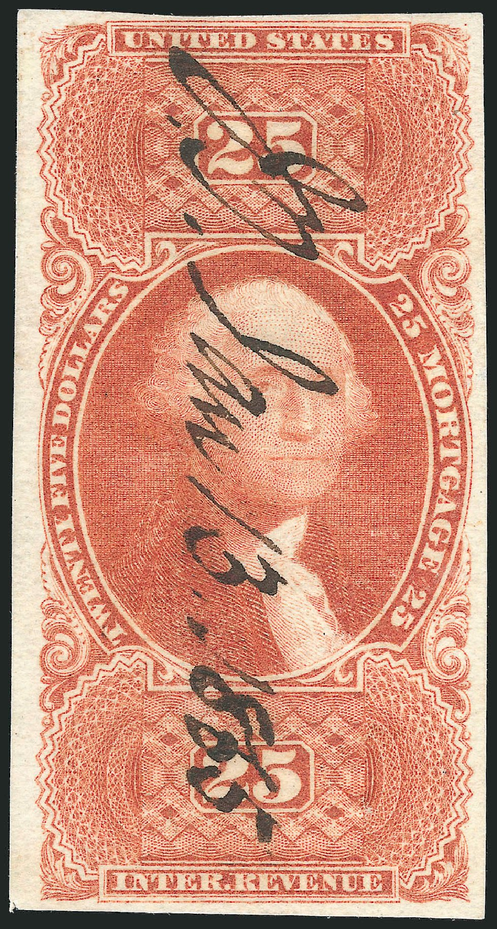 Values of US Stamps Scott # R100 - US$25.00 1863 Revenue Mortgage. Robert Siegel Auction Galleries, Oct 2010, Sale 997, Lot 6584