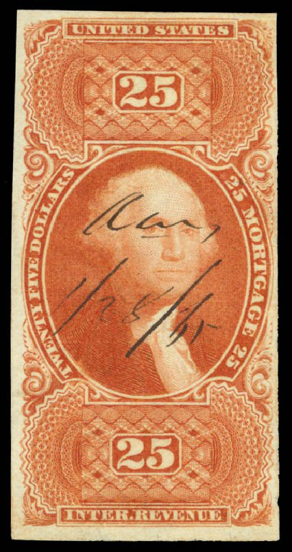US Stamp Values Scott Catalogue #R100: US$25.00 1863 Revenue Mortgage. Daniel Kelleher Auctions, Sep 2014, Sale 655, Lot 955
