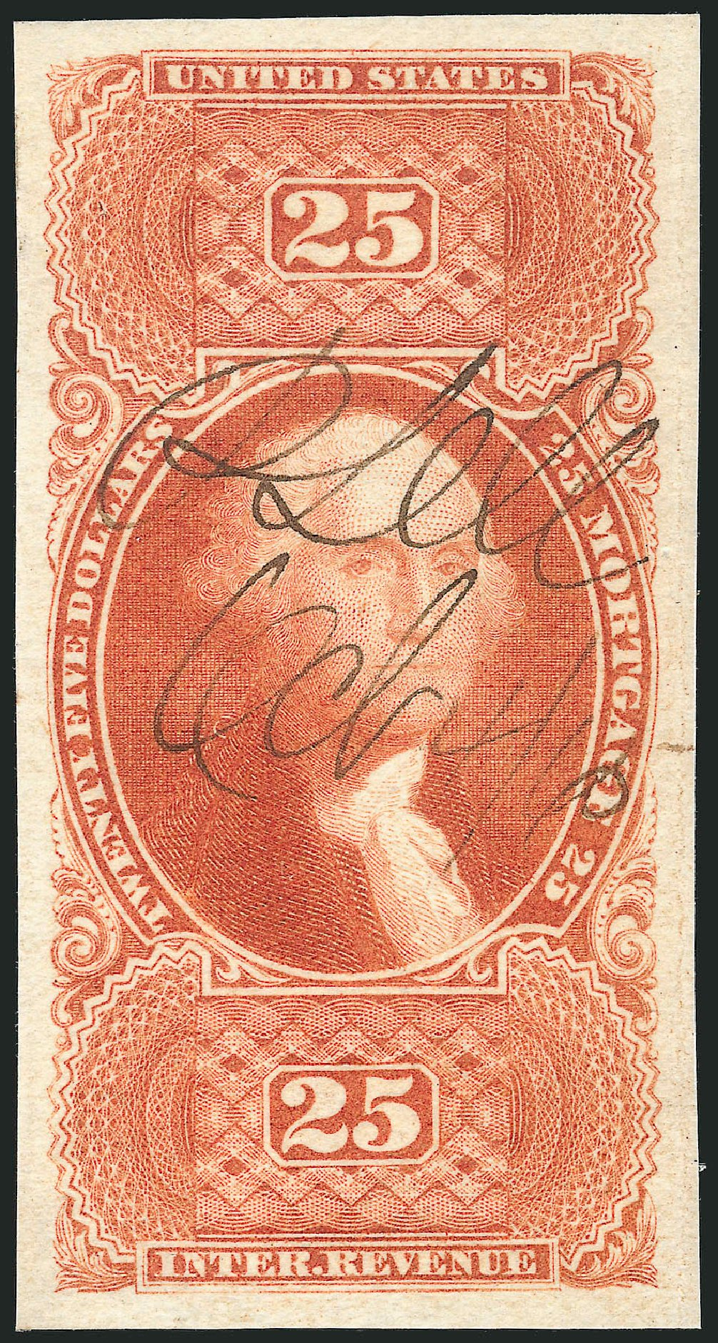Value of US Stamp Scott Catalogue R100: 1863 US$25.00 Revenue Mortgage. Robert Siegel Auction Galleries, Dec 2014, Sale 1089, Lot 275